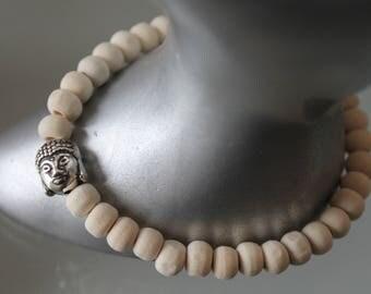 men's bracelet. white wooden Bead Bracelet Buddha .bracelet. boho bracelet. Buddhist bracelet. Silver charm - elastic bracelet