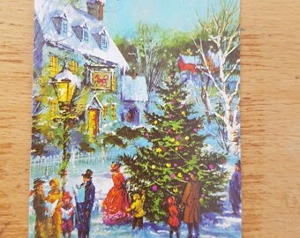 Small Vintage Christmas greetings card, brand new. 1970s, Christmas tree, Victorian scene