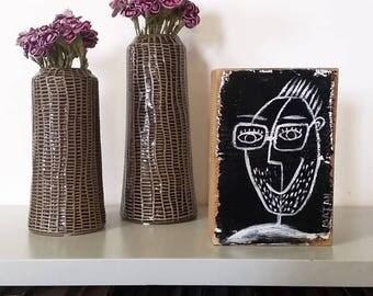 wood block wall art | etsy