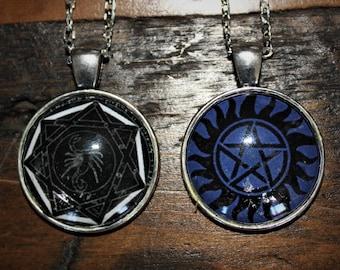 Supernatural necklace pendants, Devils Trap, Anti possession Tattoo