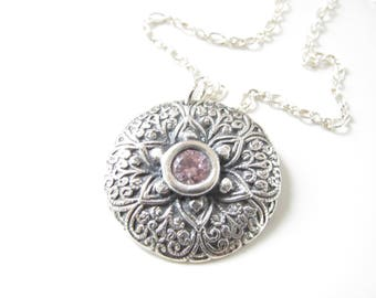 Floral Filigree Necklace - Hand Made from Fine Silver with Sterling and Pink Sapphire CZ - Ready to Ship - Unique Artisan Pendant