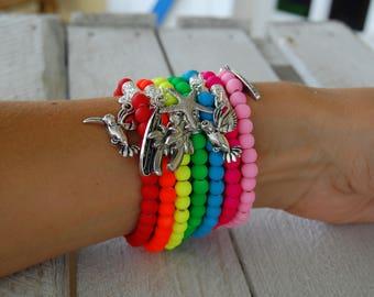 Tropical neon beads bracelet