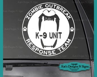"20"" LARGE Zombie Response K-9 Vinyl Decal - Car, Truck, Window, Smooth Surface Dog K9 Sticker"