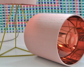 Pink silk lampshade with mirror copper liner