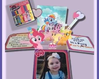 My little Pony- pop up box Invitations-My Little Pony Invitations