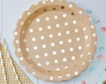 Gold Foiled & Kraft Paper Plates, Wedding Plates, Baby Shower Plates, Summer Party Decor, Birthday Party Paper Plates, 8 Pack