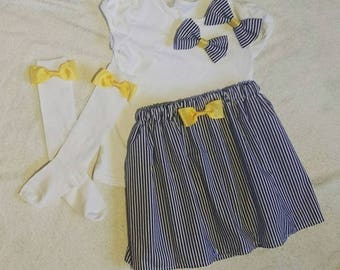 Navy And Yellow Outfit