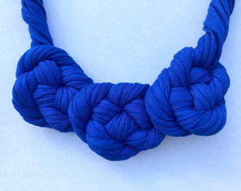 Blue Twisted Knots Necklace, Statement Necklace, T-shirt Yarn Necklace, Fabric Necklace, Gift for Her, Handmade Necklace, Gift for Mum
