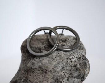 Circle Earrings, Black Platinum Plated Earrings, Minimalist Earrings, Geometric Earrings, Modern Earrings