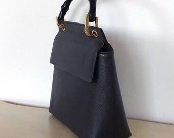 Authentic 80's GUCCI BAMBOO handbag black. Preloved Gucci designer bag.