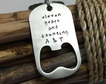 Anniversary Key Chain, Bottle Opener, Gift for Husband, 6th Anniversary,  Iron Anniversary