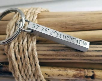 Valentine Gift for Him, Coordinates Key Chain, Gift for Husband, 6th Anniversary,  Iron Anniversary, Men's Custom, Keychain for Boyfriend