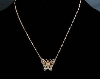 Beautiful 14k Gold Multi Color Gemstones Butterfly Pendant w Chain Necklace