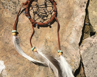 Native American brown leather dream catcher, handmade