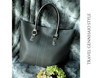 Vegan Leather Grey Tote Bag, Grey Tote Bag, Faux Leather Tote Bag, Tote Bag, Oversize Bag, Re purpose, Grey Handbag, Gift For Her
