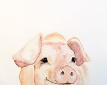 Tickled Pink Watercolor Pig PRINT