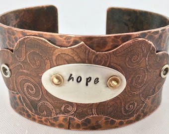 Copper cuff Hope message,  etched copper, 7th annivesary gift, hammered copper, copper & silver bracelet. stamped jewellery, word jewellery