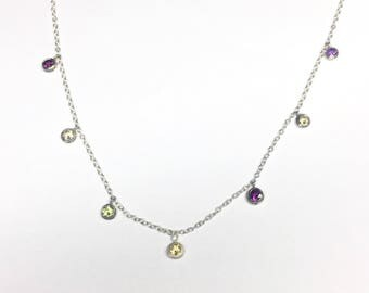 Multi gemstone necklace with citrine, amethyst, garnet, and peridot in sterling silver