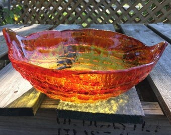 Amberina Glass Bowl, Mid Century