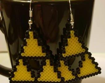 Perler Bead Zelda Hyrule Triforce Hook Earrings
