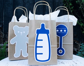 Baby Shower Paper Bag Set Of 3 Or 6, Boy Shower Goody Baggies, Baby