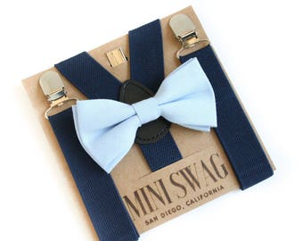 Blue Bow Tie and Suspenders, Infant Boy Bow Tie, Navy Toddler Suspenders, Cake Smash Outfit, 1st Birthday Bow Tie, Kids Bowtie, Photo Prop