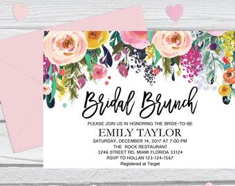 Bridal Brunch Invitation, Watercolor bridal invite, Floral Bridal Shower Card, Instant Digital Download File, Flower Bride DIY, Brunch 14