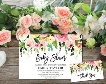 Baby Shower Invitation, It's a Girl Shower Invite, Bridal Shower Card, Floral Baby Shower, Boho Girl Baby Invite, Instant Download ABB07
