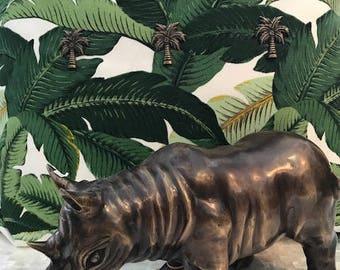 Brass Rhino Sculpture