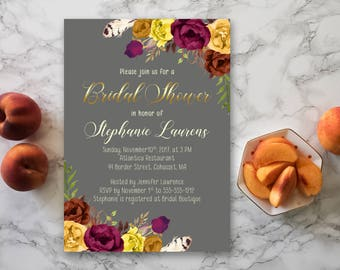 Fall Bridal Shower Invitation Printable Fall Digital Wedding Invitations Marsala Burgundy Bridal Shower Boho Wedding Fall Invite BS-027