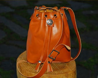 HANDMADE LEATHER Mini Bucket Bags ( With your initials inner side).