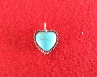 Heart charm with turquoise center