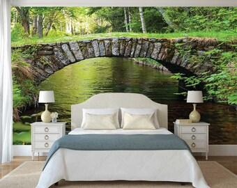 Nature Wall Mural, Wall Mural Forest, Bridge Wallpaper, Wall Mural Stones, Wall Decal Woods