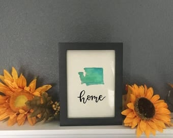 Washington State - Home State - State Watercolor - State Painting - Home State Watercolor