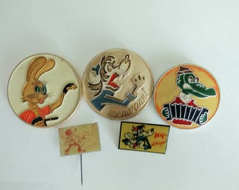 Soviet pins badges SET  Wolf Russian cartoon  Pin Wolf and hare Crocodile pin USSR Soviet 1980s