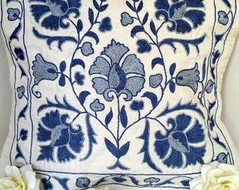 A Cute Handmade Suzani Pillowcase from Uzbekistan. It's All about Flowers!