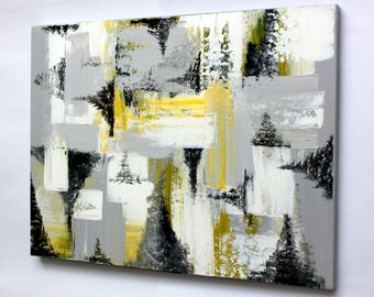 Abstraction in gray and yellow colors (original acrylic painting)