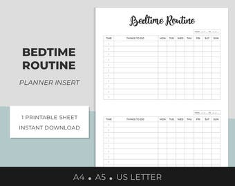 Bedtime Routine, Planner Insert, Printable, A4, A5, US Letter, Weekly Night Time Routine, To-do List, Organization Printable, Daily Routine