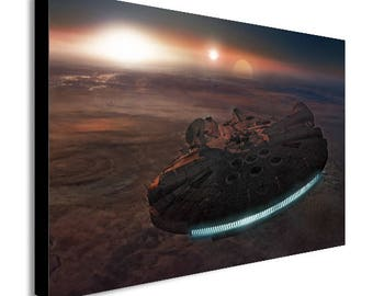 Millenium Falcon Star Wars Movie Planet Canvas Wall Art Print - Various Sizes