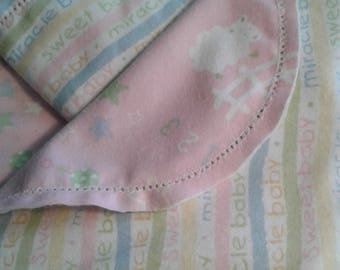 Sweet Baby Pink Pastel Stripe Small Hemstitched Baby Receiving Blanket Ready to Crochet
