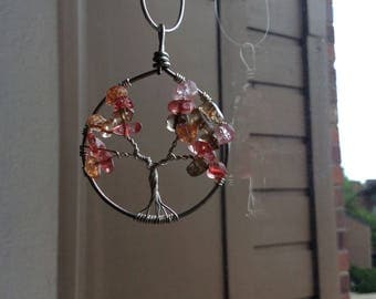 Colorful orange mix Tree necklace