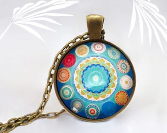 Medallion multicolored round pendant necklace Locket made by hand, geometry