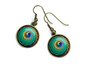 Earrings colorful swirl spiral, Rainbow, evening, party