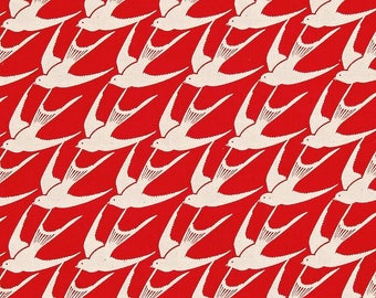 Cotton and Steel SS Bluebird Fabric, Flock in Red, Red and White Bird Fabric, Swallows