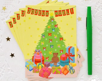 "Set of 5 postcards illustration ""Christmas tree"""