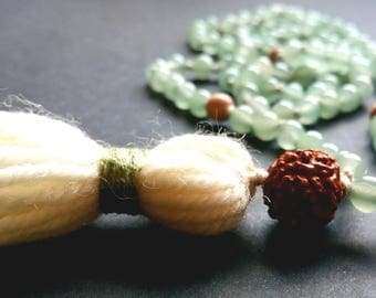 Green aventurine mala with rosewood and Rudraksha