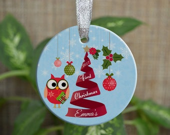 Personalized Christmas Ornament, Baby First Christmas ornament, Custom Ornament, Newborn baby gift, Owl ornament, Girl, Christmas gift. o032