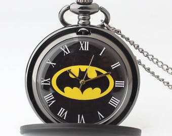 Batman Quartz Pocket Watch Black with Chain