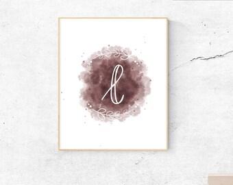Letter L mauve watercolor