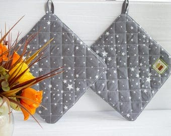 Kitchen potholders Gray potholder First home gift for sister set pot holder Kitchen accessories Quilted potholders Gift ideas Christmas gift